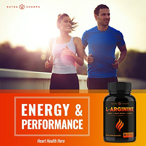 Premium L Arginine 1500mg Nitric Oxide Supplement - Extra Strength for Energy, Muscle Growth, Heart Health, Vascularity & Stamina - Powerful NO Booster Capsules with L-Arginine & L-Citrulline Powder by NutraChamps (Image #3)