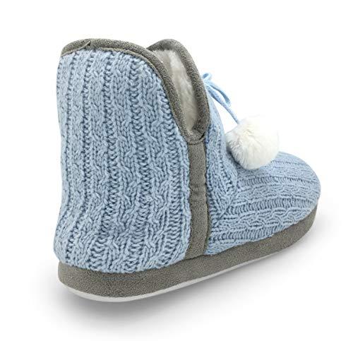 Light Slipper Blue Women's Bootie Cable Plush Fur Lined Knit on Slip Junie's STwqA8
