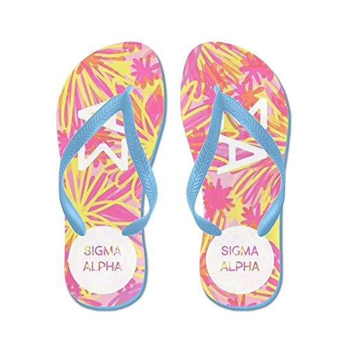 Cafepress Sigma Alpha Pink Floral - Infradito, Sandali Infradito Divertenti, Sandali Da Spiaggia Blu Caraibico