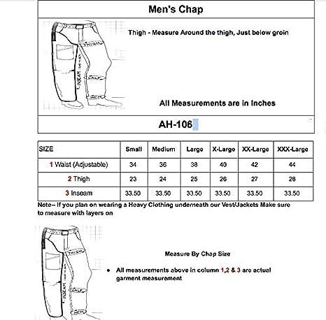 Mens Cowhide Premium Leather Elastic Fit Chaps XXX-Large