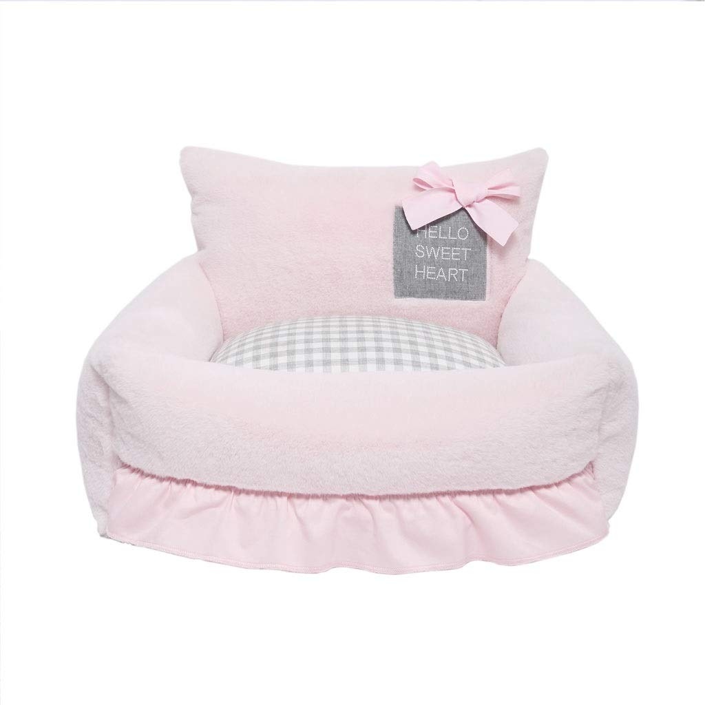 6068cm Pet Nest,Removable and Washable Lace Pink Pet Bed (Size   60  68cm)