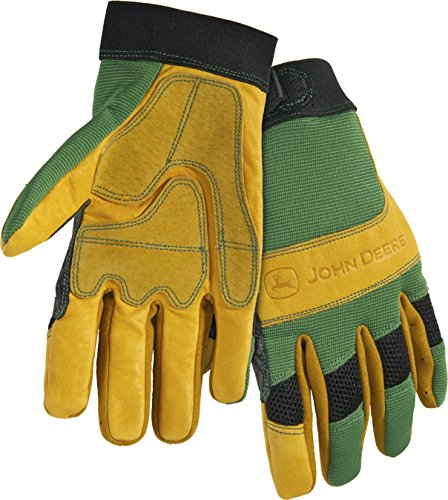 John Deere JD00009 L Grain Cowhide Leather Gloves, Large, Yellow (John Deere Grain)