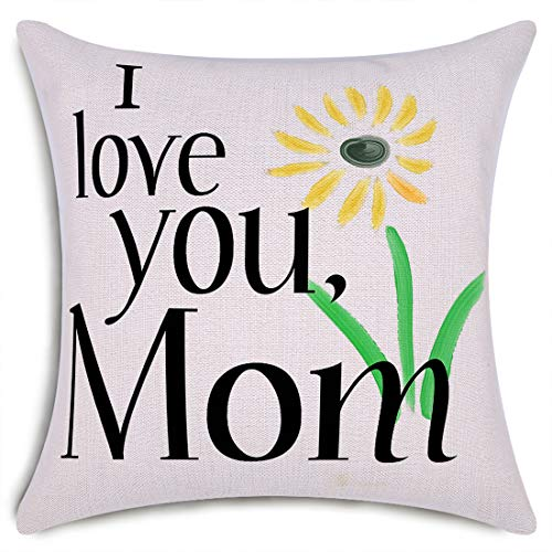 Smiry Mother's Day Throw Pillow Covers I Love You Mom Decorative Cushion Cover Cotton Linen Pillowcase Home Decor 18x18 Inch