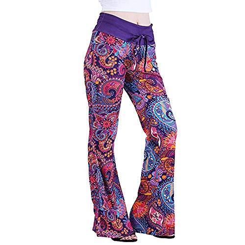 ANJUNIE Women Pajama Flare Palazzo Wide Leg Pants Cat Kitty