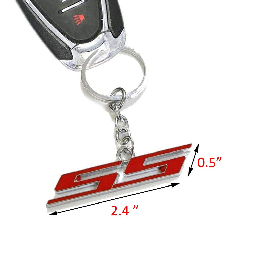 WindCar 1 PC Super Sport SS Key Chain Metal Keychain Fob Ring Keychain for Chevrolet Chevy Red