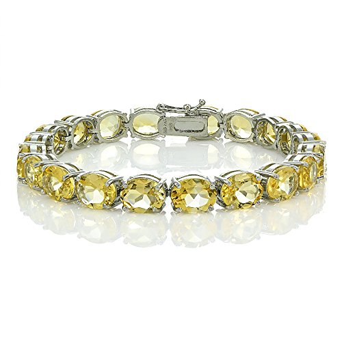 Sterling Silver Citrine 9x7mm Oval Tennis Bracelet