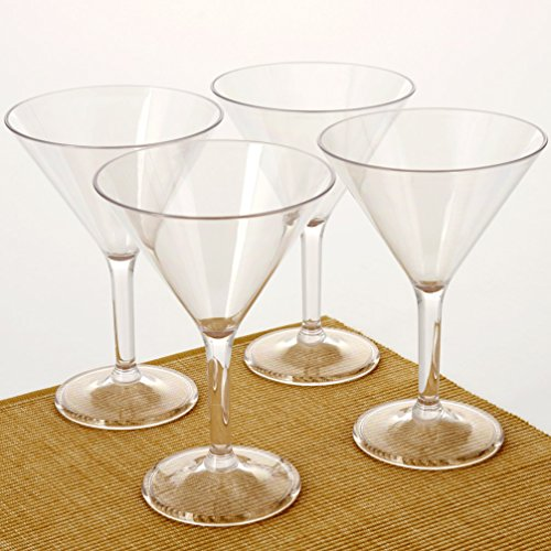 City Point 4 pcs 10 OZ Crystal clear Plastic Martini glass, Break-Resistant Commercial Plastic Party Cocktail Glass, Picnic Martini Glass