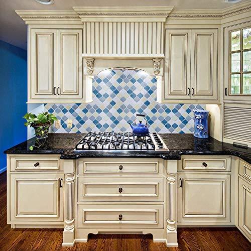 Peel and Stick Tile Backsplash for Kitchen Bathroom,Teal Arabesque Tile Backsplash,Mosaic Backsplash Sticker (8 Tiles) by HUE DECORATION (Image #1)