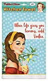 ''When Life Gives You Lemons, Add Vodka'' 100% Cotton Eco-Friendly Dish Towel, Kitchen Towel With Hanging Loop, Kitchen Towel With Funny Quote