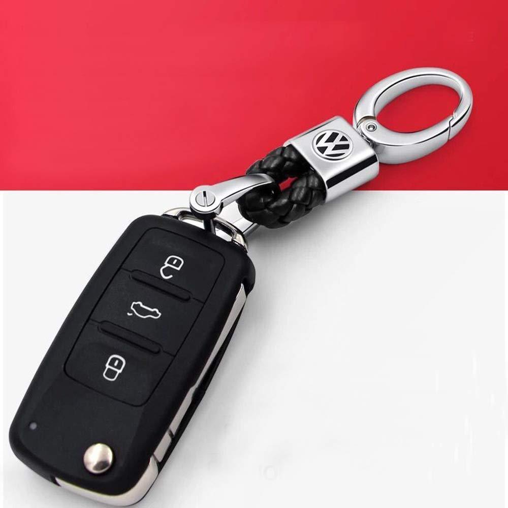 VILLSION 2Pack Genuine Leather Car Logo Keychain for Volkswagen VW Keyring Accessories Key Holder