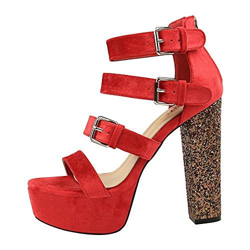 Xue hembra El heel noche impermeables sandalias gruesos alta alta Qiqi rojo shoes Ultra con alta con días odio una T rwSpanrx8B