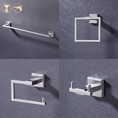 KES SUS 304 Stainless Steel 4-Piece Bathroom Accessory Set RUSTPROOF Including Towel Bar Toilet Paper Holder Towel Ring Double Coat Hook Wall Mount Contemporary Square Style Brushed Finish, LA242DG-42