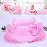 KidsTime Baby Travel Bed,Baby Bed Portable Folding Baby Crib Mosquito Net Portable Baby Cots Newborn Foldable Crib(PINK)