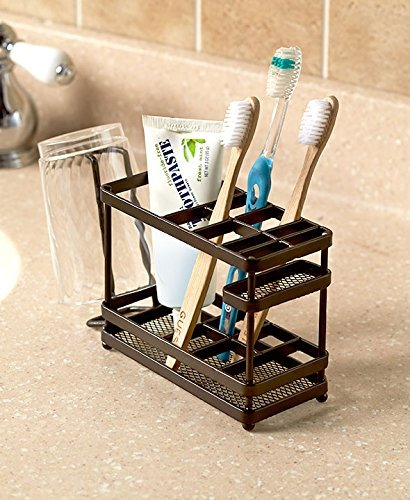 - The Lakeside Collection Metal Bathroom Counter-top Organizer - Bronze