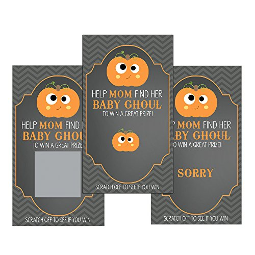 Set of 12 Scratch Off Game Cards for Baby Shower Games with Halloween Baby Ghoul in Black (Halloween Raffle Time)
