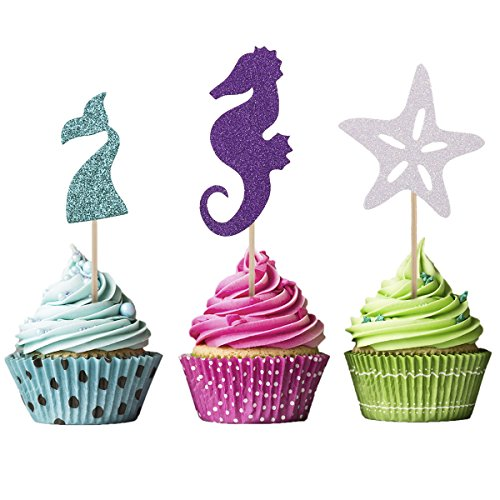 Bloomeet 3 Styles 48 PCS Glitter Mermaid Themed Party Cupcake Toppers Blue Mermaid Tail | Purple Hippocampus | White Starfish Cake Picks Decorations for Kids Women Girl Birthday and Baby Shower by Bloomeet