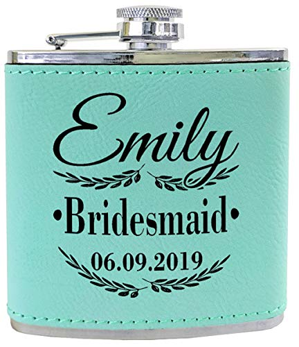 (ONE Bridesmaid Girls Trip Bachelorette Personalized Leather Flask Engraved Black Wedding 21st Birthday Gifts (Teal))