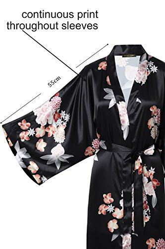 sposa lungo in in in pigiama Kimono vestaglia cinese pigiameria da cm Festa stile Robe ArtiDeco pollici nero da donna Fiore in 135 per Kimono maschera raso 53 party giapponese xanq8zHw