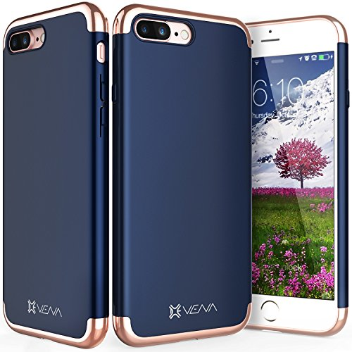 iPhone 7 Plus Case Vena Mirage Chrome Dock Friendly Slim Fit Hard Case Cover for Apple iPhone 7 Plus 6 point 4 inches Navy Blue Rose - Rose Navy And Gold