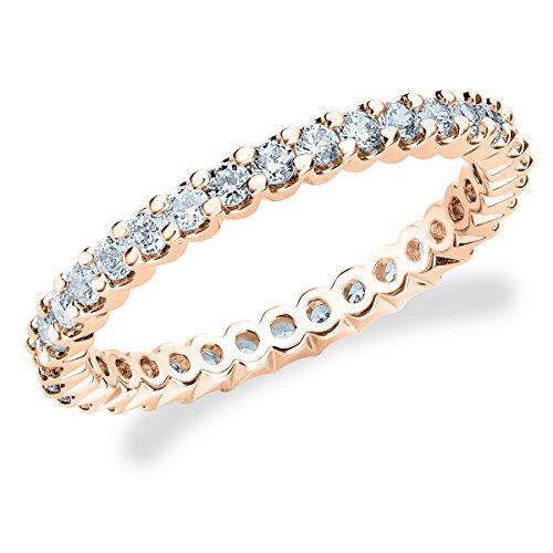 14k Shared Prong - 14K Rose Gold Diamond Basket Prong Eternity Ring (.50 cttw, F-G Color, VS1-VS2 Clarity) Size 8.5