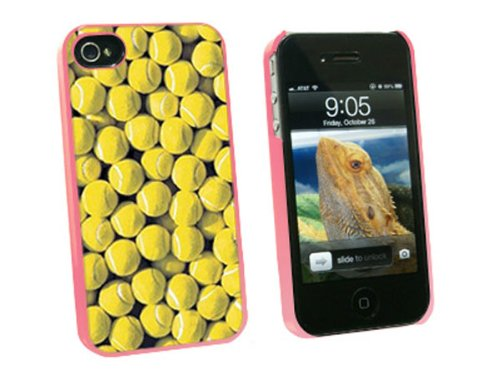 Graphics and More Tennis Balls - Snap On Hard Protective Case for Apple iPhone 4 4S - Pink - Carrying Case - Non-Retail Packaging - Pink