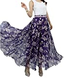 Afibi Women Full/Ankle Length Blending Maxi Chiffon Long Skirt Beach Skirt (XX-Large, Design T)