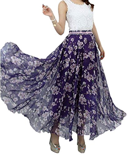 Afibi Women Full/Ankle Length Blending Maxi Chiffon Long Skirt Beach Skirt (X-Large, Design T)