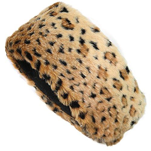 FUNOC New Ladies Womens Luxury Faux Fur Headband Winter Ski Ear Muffs Earwarmers Hat (Yellow Leopard)