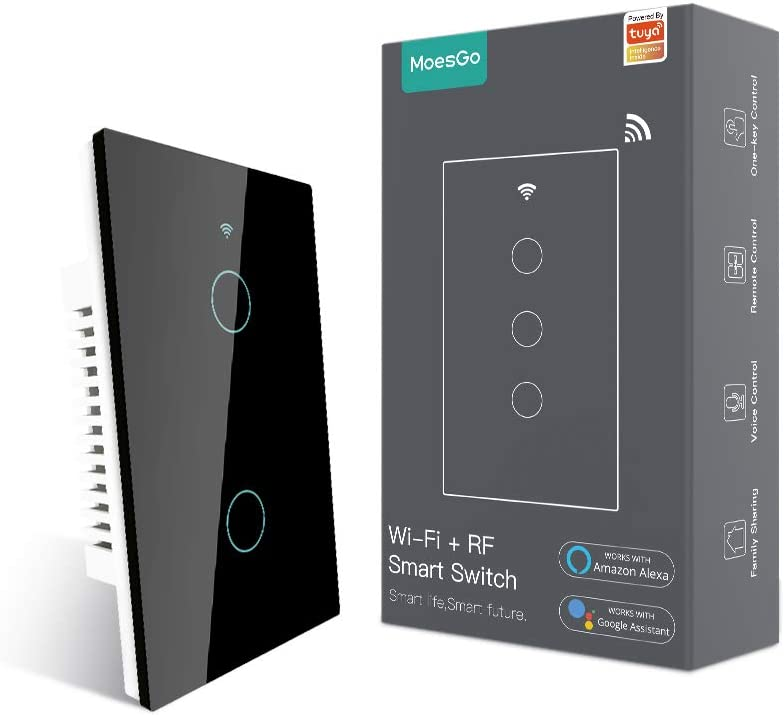MoesGo WiFi RF433 Smart Touch Wall Switch No Neutral Wire Needed, Single Wire Smart Switch Compatible with Smart Life/Tuya App, Works with Alexa and Google Home 110V Single Pole Black 2 Gang