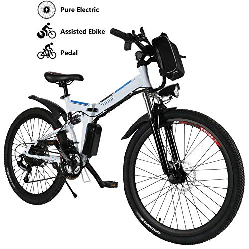 "Yiilove Electric Mountain Bike 26"" Wheel Ebike 36V Lithium-Ion Battery, Electric Bicycle 250W Powerful Motor, Shimano 21 Speed (Type3-26-Foldable-White)"