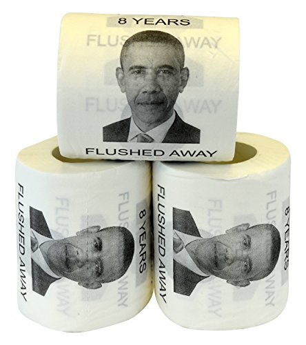 Fairly Odd Novelties Barack Obama 8 Years Flushed Away Toilet Paper (3 Pack)