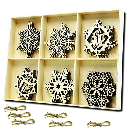 (YuQi 30pcs Wooden Snowflake Shapes Unfinished Wood Ornaments Crafts for Home Decor Blanks,Christmas Tree Hanging Ornament Sets Embellishments with Natural Twine Kits (6 Snowflake Styles))