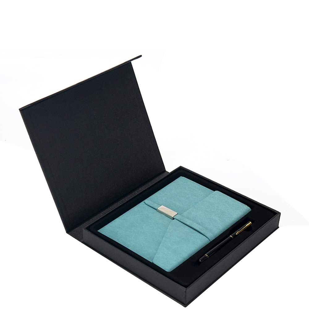 A5 Notebook Stationery Business Gift Notepad Set Gift Box Leather Book (Color : Blue)