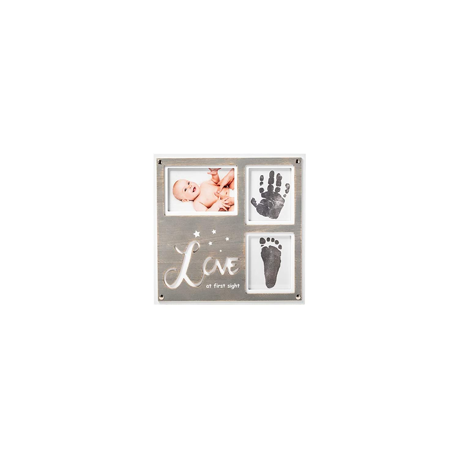 """1Dino Newborn Baby Handprint and Footprint Picture Frame Kit – Special Cut 12.6"""" x 12.2″ White/Grey Wood Frame, Clean-Touch Ink Pad Included, Safe for Baby – Baby's Prints, A Perfect Baby Shower Gift"""