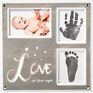 "1Dino Newborn Baby Handprint and Footprint Picture Frame Kit – Special Cut 12.6"" x 12.2″ White/Grey Wood Frame, Clean-Touch Ink Pad Included, Safe for Baby – Baby's Prints, A Perfect Baby Shower Gift"