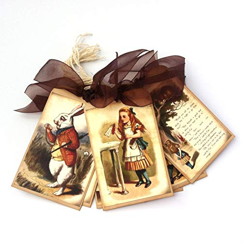 Alice in Wonderland Gift Tags - Vintage Wedding, Bridal and Baby Shower Favor Hang Tags - Set of 9 (Tags Hang Bridal)