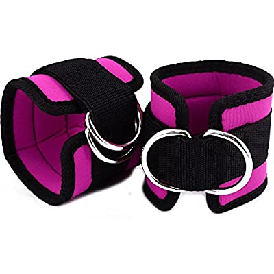 Double D Rings Ankle Strap for Cable Machine Gym Leg Kickback Workout Thick Neoprene Excercise Ankle Support Cuff Pink Color Adjustable Tape Closure