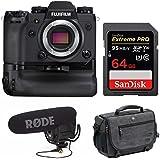 Fujifilm X-H1 4K Mirrorless Camera Body w/Booster Grip & Rode VideoMic Pro Kit & Accessory Bundle