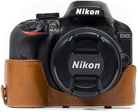 Café o Negro Marrón Cuero PU Estuche Bolsa Grip para Nikon D3400 Cámara