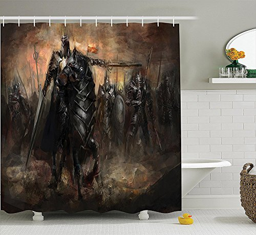 [Fantasy World Decor Collection King with Armor Leading His Army in War Evil and Good Ancient City Illustration Polyester Fabric Bathroom Shower Curtain Set with Hooks Black] (Nerd Costumes At Party City)