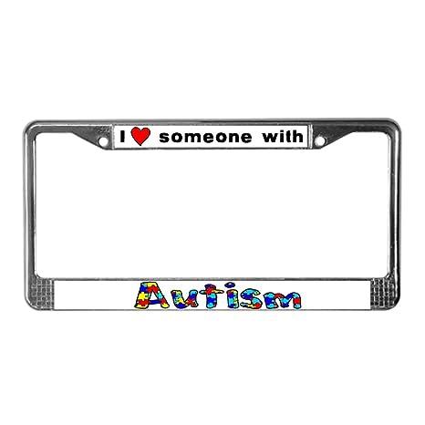 Amazon.com: CafePress - I Love Someone With Autism - Chrome License ...