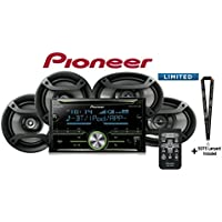 Pioneer FH-S701BS Double Din CD Receiver w/ Built in Bluetooth and One Pair of 6.5 and 6x9 Car Speakers with SOTS Lanyard