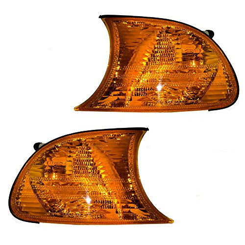 Driver and Passenger Park Signal Corner Marker Lights Amber Lamps Replacement for BMW 63126904299 63126904300