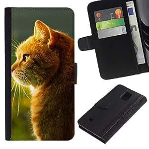 LECELL--Cuero de la tarjeta la carpeta del tirón Smartphone Slots Protección Holder For Samsung Galaxy Note 4 IV -- Shine Orange Cat --