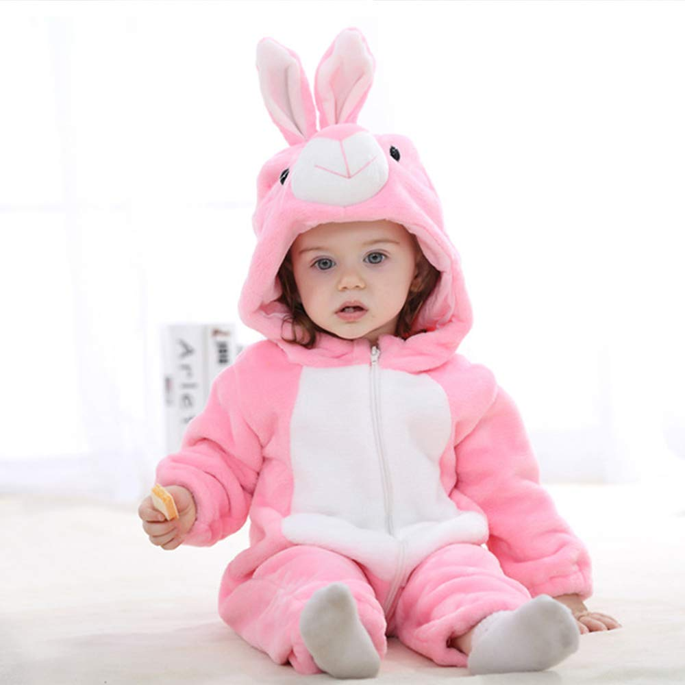 Unisex Baby Winter Romper Flannel Pajamas Jumpsuit Animal Cosplay Outfits