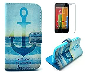 Motorola Moto G Case, Quotes I'm Anchored Forever With You Flip Wallet Credit ID Card Slot Holder Phone Case With Stand --Retail Package W Screen Protector --Anchor Seaside