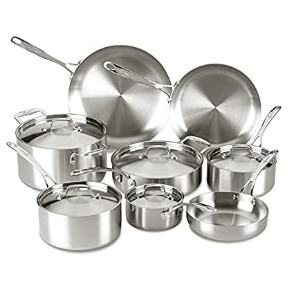 Buy Lagostina Q555sd Axia Tri Ply Stainless Steel Dishwasher Safe Oven Safe Cookware Set 13 Piece Silver Online At Low Prices In India Amazon In
