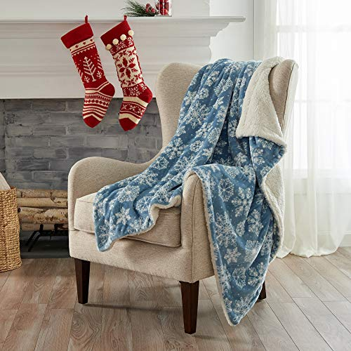 Home Fashion Designs Premium Reversible Two-in-One Sherpa and Sculpted Velvet Plush Luxury Blanket. Fuzzy, Cozy, All-Season Berber Fleece Throw Blanket. (Snowflakes)