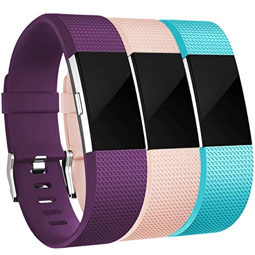 Maledan Bands Replacement Compatible with Fitbit Charge 2, 3-Pack, Plum/Teal/Blush Pink, Small
