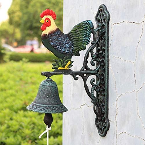 風鈴ビッグコック錬鉄ドアベルヴィンテージガーデン壁掛けシンプルな庭の装飾23x34x10cm鋳鉄ドアベル